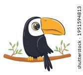 Cute Little Toucan. Cartoon...