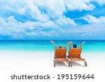 two happy people having fun on... | Shutterstock . vector #195159644