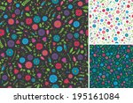 seamless flower and leaf pattern | Shutterstock .eps vector #195161084