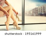 golden shoes street in town and ... | Shutterstock . vector #195161999
