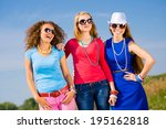 three young attractive girls... | Shutterstock . vector #195162818