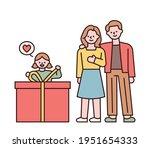 a girl unpacking a big gift box ... | Shutterstock .eps vector #1951654333