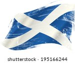 a scottish flag in the wind... | Shutterstock .eps vector #195166244