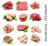 collage of raw meats | Shutterstock . vector #195166649