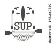 stand up paddle boarding flat...   Shutterstock .eps vector #1951667980