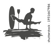 paddle board yoga meditation....   Shutterstock .eps vector #1951667986