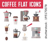Coffee Vector Icons In Flat...