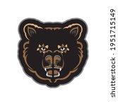 color print face of a bear.... | Shutterstock .eps vector #1951715149