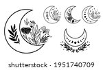 floral moon clipart. moon phase ... | Shutterstock . vector #1951740709