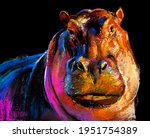 Pastel Painting Of A Hippo....