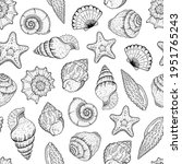 sea shell pattern. seashell... | Shutterstock .eps vector #1951765243