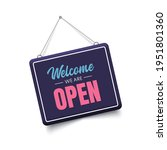 welcome we are open sign. 3d... | Shutterstock .eps vector #1951801360