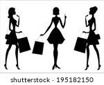 Women Shopping. Silhouettes.