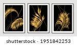 luxury gold leaves wallpaper....   Shutterstock .eps vector #1951842253