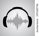 headphones icon with sound wave ... | Shutterstock .eps vector #195185756