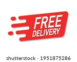 free delivery red advertisement ...   Shutterstock .eps vector #1951875286