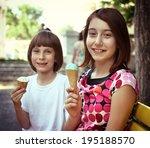 children eating ice cream in... | Shutterstock . vector #195188570