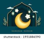 ramadan kareem paper graphic of ... | Shutterstock .eps vector #1951886590