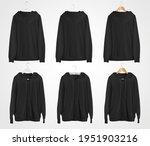 black hoodie mockup with ties ... | Shutterstock . vector #1951903216