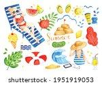 set of summer doodles... | Shutterstock .eps vector #1951919053