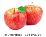 ripe juicy apple with leaf | Shutterstock . vector #195193799