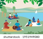picnic friends  couples in... | Shutterstock .eps vector #1951949080