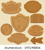 set of different shapes wooden... | Shutterstock .eps vector #195198806