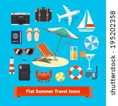 flat summer travel icons.... | Shutterstock .eps vector #195202358