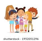 happy multi aged friends hug... | Shutterstock . vector #1952051296