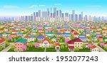 suburban landscape.view of high ... | Shutterstock .eps vector #1952077243
