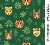 seamless pattern with tigers... | Shutterstock .eps vector #1952118223