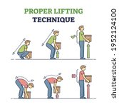 proper lifting technique with...   Shutterstock .eps vector #1952124100