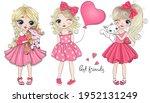 three hand drawn beautiful cute ...   Shutterstock .eps vector #1952131249