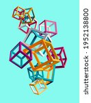 3d colorful cubes on blue...   Shutterstock .eps vector #1952138800