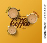 coffee  background with... | Shutterstock .eps vector #195216419