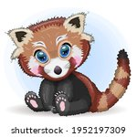 red panda  cute character with... | Shutterstock .eps vector #1952197309
