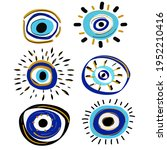 colorful abstract eyes. evil... | Shutterstock .eps vector #1952210416