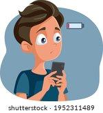 teen boy with low battery... | Shutterstock .eps vector #1952311489