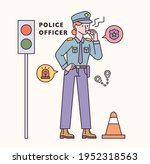 police officer character and... | Shutterstock .eps vector #1952318563