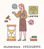 lawyer character and icon set.... | Shutterstock .eps vector #1952318593