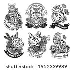 vintage black and white cat ... | Shutterstock .eps vector #1952339989