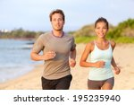 fitness couple jogging outside... | Shutterstock . vector #195235940