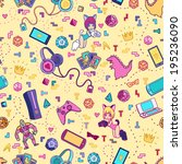 vector pattern with geek stuff. | Shutterstock .eps vector #195236090