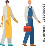 male cook and constructer with...   Shutterstock .eps vector #1952400013