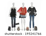 female in jeans with bag and... | Shutterstock . vector #195241766