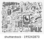 doodle communication background | Shutterstock .eps vector #195242873