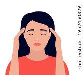 woman is in headache  dizziness ...   Shutterstock .eps vector #1952450329