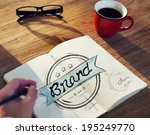 man with a notepaper with brand ... | Shutterstock . vector #195249770