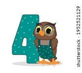cute cartoon  baby owl and... | Shutterstock .eps vector #1952521129