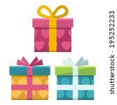 set of icons of gift boxes | Shutterstock .eps vector #195252233
